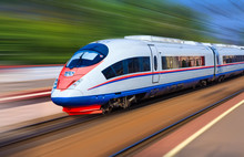 Modern Train At High Speed