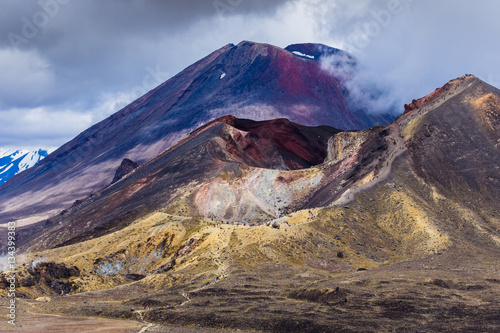 Photo  Volcanic landscape with Red crater and Mt Ngauruhoe, Tongariro, NZ