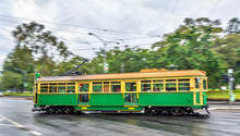 Heritage Tram On La Trobe Street In Melbourne, Australia