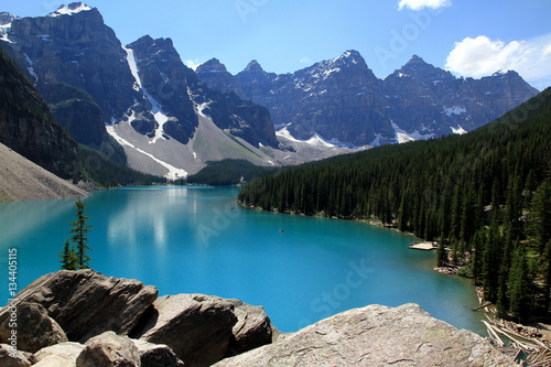 Lakes in the dream and reality - Moraine lake in the Valley of the Ten Peaks, Canada