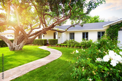 Beautiful Home With Green Grass Yard Fototapet