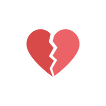 Red Heartbreak / Broken Heart Or Divorce Flat Icon