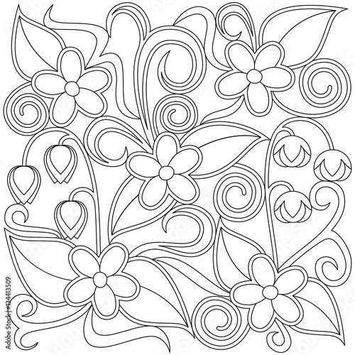Floral coloring page. Fototapete