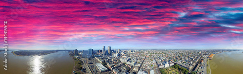 New Orleans, LA. Aerial panoramic view at sunset