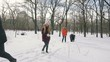 Group of friends playing snowballs and having fun in snowy park, slow motion