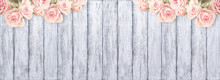 Roses On Background Of Shabby Wooden Planks With Place For Text.