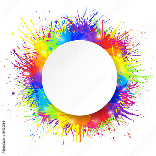 Tuinposter Vormen White round paper banner on vivid and colorful paint splashes background. Vector illustration.