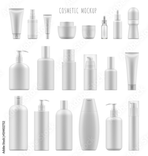 Fotografie, Obraz  Set vector blank templates of empty and clean white plastic containers: bottles with spray, dispenser and dropper, cream jar, tube