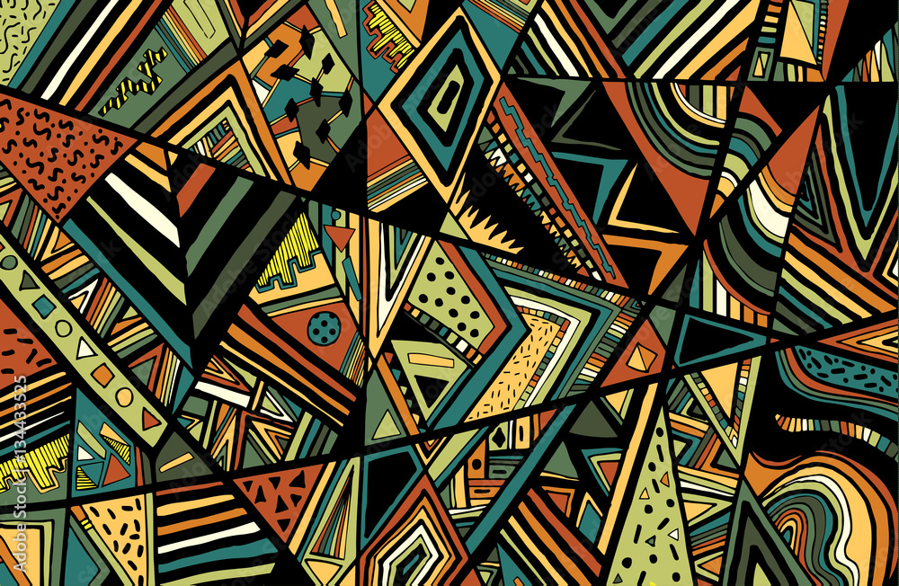 Fotografie, Obraz Abstract ethnic background is from different geometric shapes.Ve