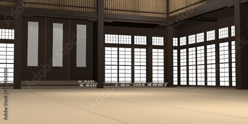 Poster Martial arts 3d rendered illustration of a traditional karate dojo or school with training mat and rice paper windows.