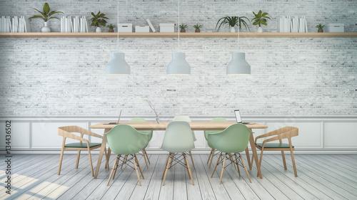 Obraz na płótnie Minimalistyczne wnętrze, biały pokój z zielonym krzesłem i drewnianym stołem, biały mur. Skandynawski styl. 3D render