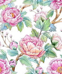 Tapeta Watercolor floral chinese pattern