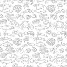 Hand Drawn Sea Food Seamless P...