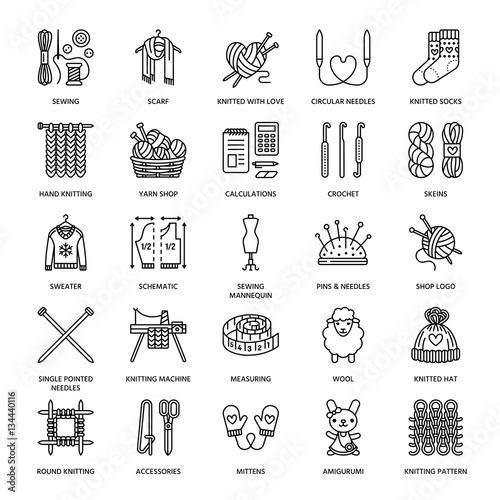 Fotografie, Obraz  Knitting, crochet, hand made line icons set