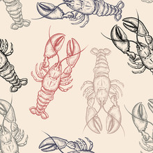 Seamless Vector Pattern With Lobsters.