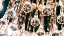 Modern Designer Chandelier. Modern Design And Lighting Design Of The Room. Design Of Light And Space. Unfocused & Fil, Texture