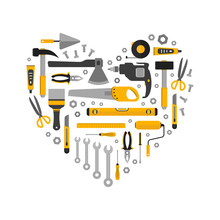 Flat Set Of Working Tools In Heart Shape. Icons Design Elements. Construction And Home Repair Instruments. Hand Drill, Glue, Screwdriver, Saw, Pliers, Level, Hammer, Scissors. Vector Illustration