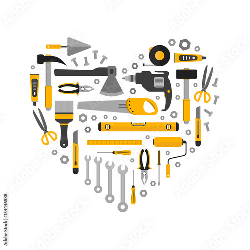 Valokuva  Flat set of working tools in heart shape