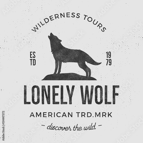 Old Wilderness Label With Wolf And Typography Elements Vintage Style Logo Prints Of