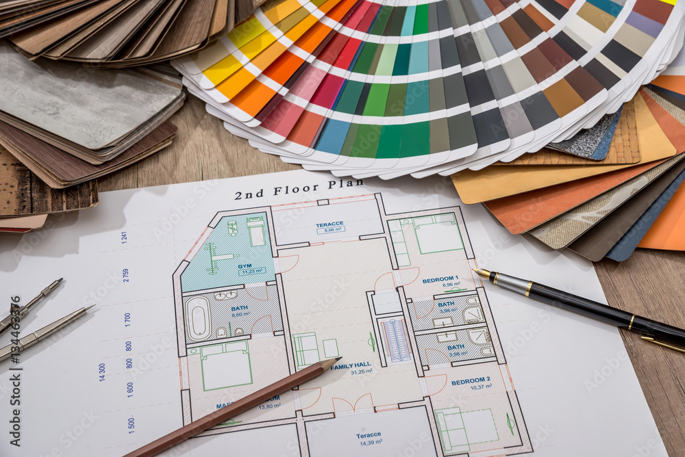 Fototapeta architectural drawings with palette of colors and wooden sampler for furniture designs for interior works.