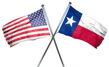 Texas And USA Flag, 3D Rendering, Crossed Flags