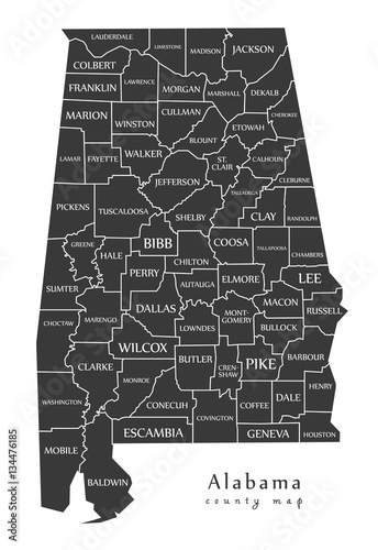 Photo Modern Map - Alabama county map with labels USA illustration