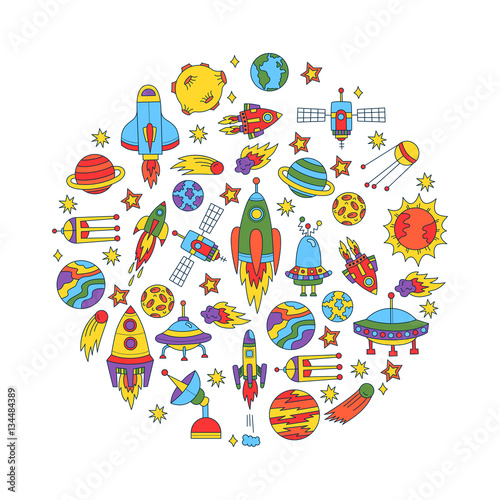Foto op Aluminium Kosmos Cosmos outer space doodle vector set isolated rocket satellite planets steroid ufo