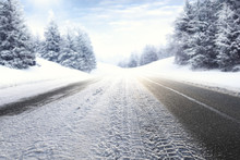 Winter Road And Snow With Frost