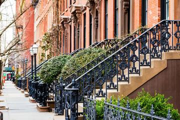 Fototapeta Nowy York Empty Sidewalk in Greenwich Village in New York City