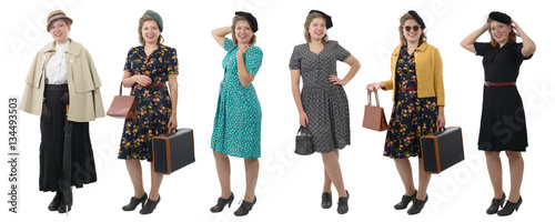Fotografía  pretty woman with different clothes 1940