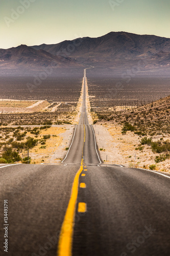 Fototapety, obrazy: Endless straight road in Death Valley National Park, California, USA
