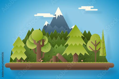 Foto auf Gartenposter Blau Jeans Paper Wood under Mountain Flat Design Landscape Background Template Vector Illustration