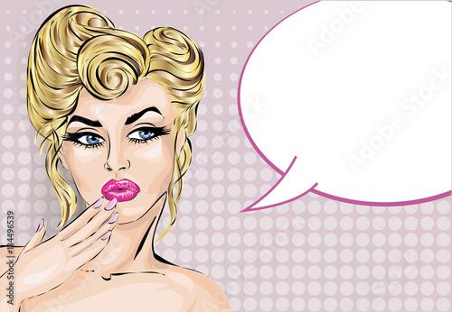Zdjęcie XXL Upiąć styl zaskoczony kobieta z dymek, portret dziewczyny pop-artu, ilustracji wektorowych