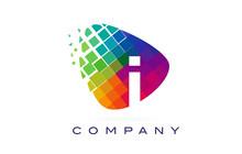 Letter I Colourful Rainbow Logo Design.