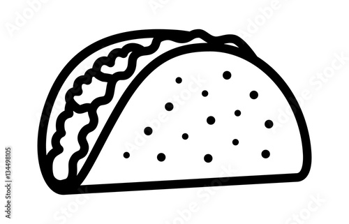 Fotografie, Obraz  Taco with tortilla shell Mexican lunch line art vector icon for food apps and we