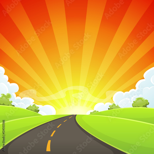Photo sur Aluminium Vert chaux Summer Road With Shining Sun
