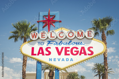 Deurstickers Las Vegas Welcome to Las Vegas neon sign