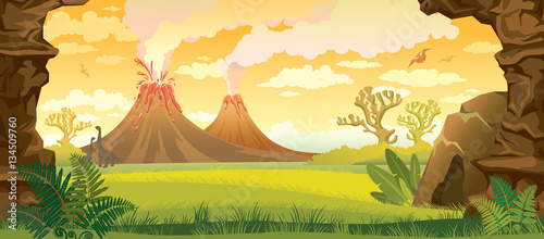 Prehistoric landscape with volcanoes. Wallpaper Mural