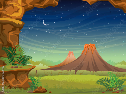 Staande foto Kids Prehistoric landscape with volcanoes at night.