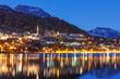 canvas print picture - St. Moritz mit St. Moritzersee bei Nacht im Engadin in Graubünden, Schweiz