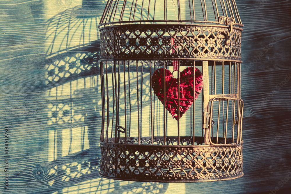 Fototapeta Heart inside the bird cage. Vintage background. Love/romance concept.