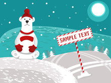 Sunny And Snowy Day, Striped Guidepost For Your Text. A Polar Bear Sits On A Hillside In A Red Cap With A Pompon And Mittens. Place For An Inscription. Vector Illustration.