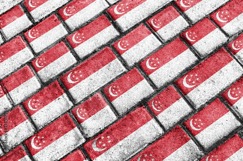 Photo  Singapore Flag Urban Grunge Pattern