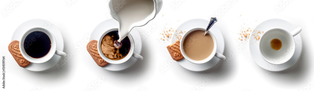 Sequence of coffee with milk with spoon and biscuit over a white backgroud