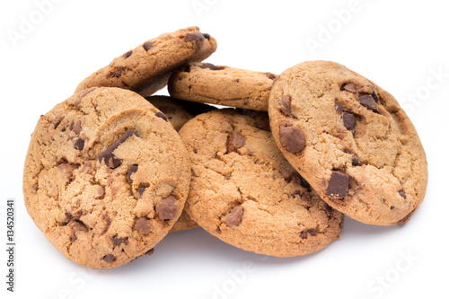 Fotografie, Obraz  Chocolate chip cookies isolated on white background.