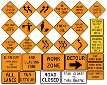 Road Signs In The United States. Work Zones, Barricades, Road Work