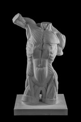 plaster statue of a naked man torso anatomical shape with muscles