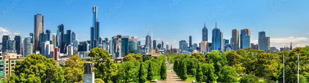 Fototapety, obrazy: Panorama of Melbourne from Kings Domain parklands - Australia