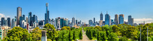 Panorama Of Melbourne From Kings Domain Parklands - Australia