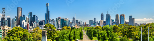 Autocollant pour porte Océanie Panorama of Melbourne from Kings Domain parklands - Australia